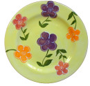 Dinner plate Flowers on yellow